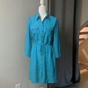 Teal Silk Shirt Dress